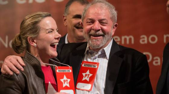 Gleisi Hoffmann e Lula na primeira reunião do novo Diretório Nacional do PT