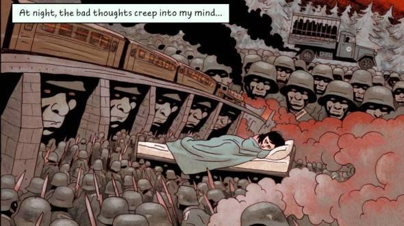 imagem do quadrinho em que tem vários soldados e uma menina dormindo na cama