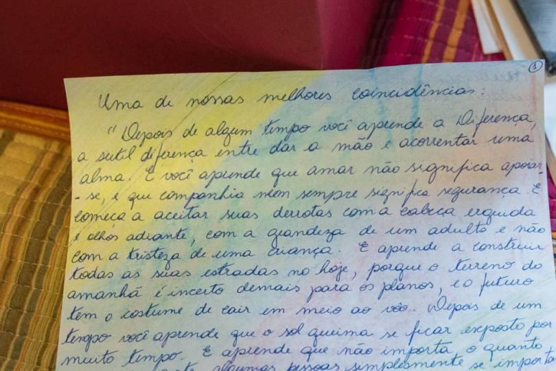 Uma das cartas escritas por Marielle para Mônica.