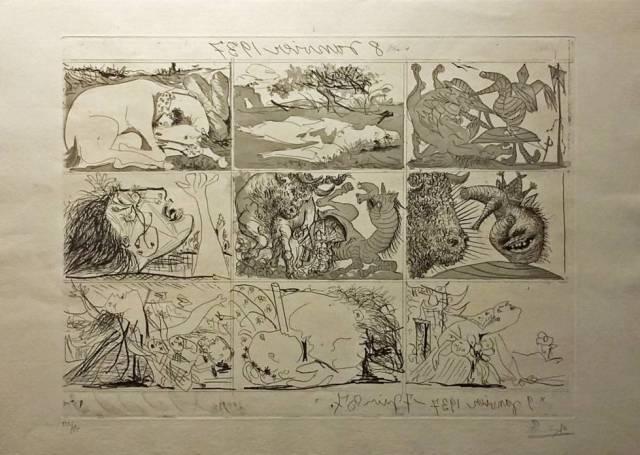 Multigrabado de Picasso realizado en 1937 que puede verse en la exposición de la Galería Mayoral.