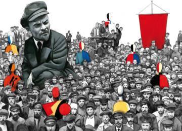 Lenin, un gigante de la revolución, según John Reed y así lo traduce el ilustrador.