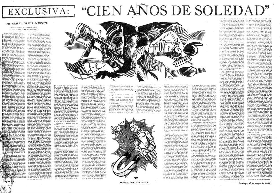 Primer capítulo de 'Cien años de soledad' publicado en 'El Espectador', de Bogotá.