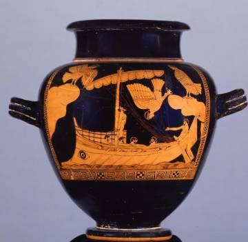 Vaso de las Sirenas, que describe un navío similar al hallado en el mar Negro.