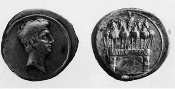Denario encontrado en Suances durante las excavaciones de 1967.