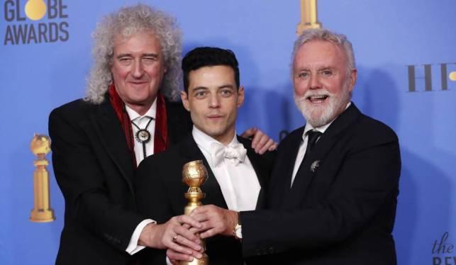 De izquierda a derecha, Brian May, Rami Malek y Roger Taylor.