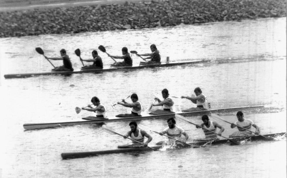 Menéndez, Misioné, Díaz-Flor y Celorrio (D) en la final de los Juegos del 76.