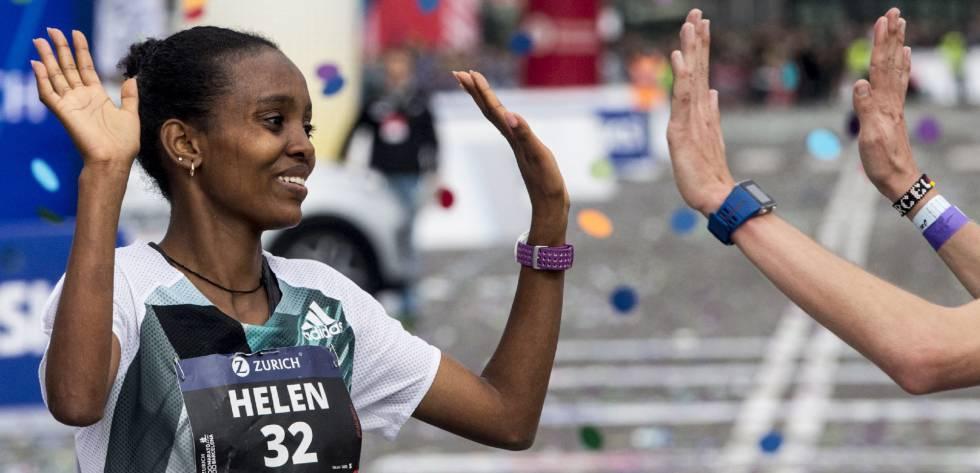 La etíope Helen Bekele, ganadora del Maratón de Barcelona.