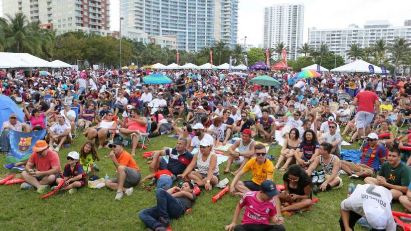 Attendees at an event organized by LaLiga to watch a league match between FC Barcelona and Real Madrid in Miami.