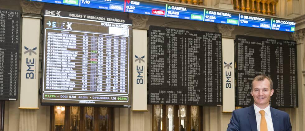 El consejero delegado de MásMóvil, Meinrad Spenger, en la Bolsa de Madrid.