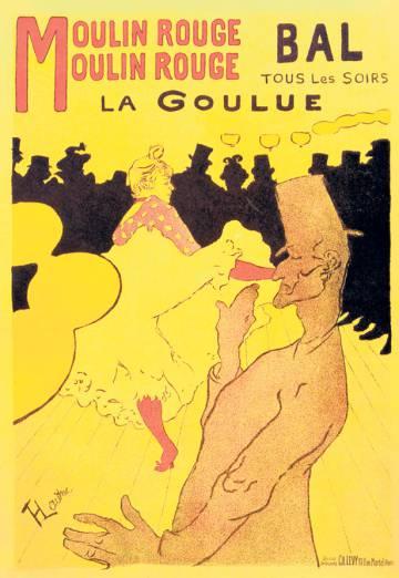 Famosa obra de Toulouse-Lautrec para anunciar el cabaret Moulin Rouge.