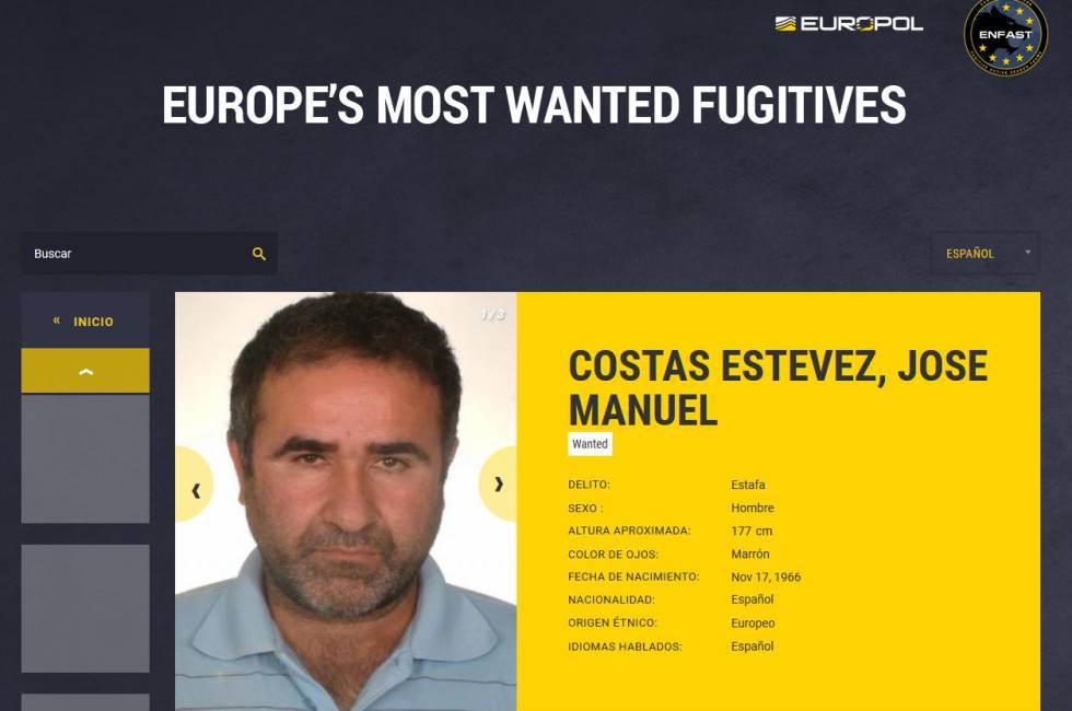 Captura de la ficha de Costas en Europol, en la web con el medio centenar de los más buscados