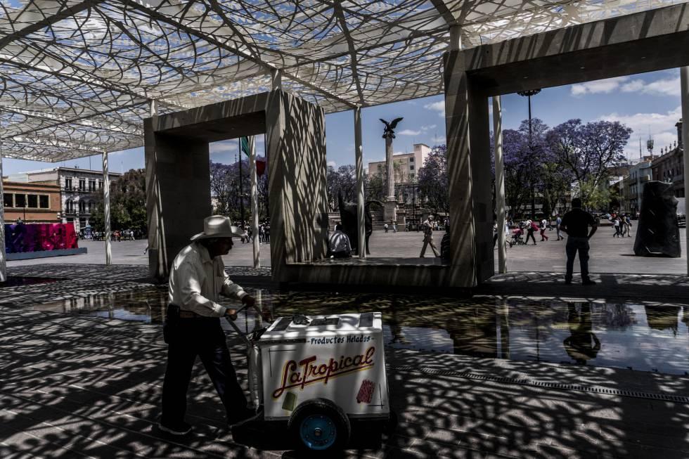 Plaza de la Patria, en el centro de Aguascalientes.