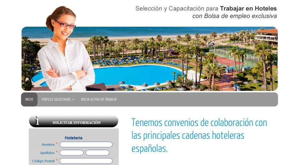 Captura de la web www.empleoenhoteles.com, que actualmente está deshabilitada.