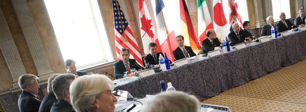 Reunión de los ministros de Finanzas y directores de bancos centrales del G7, en octubre de 2008.
