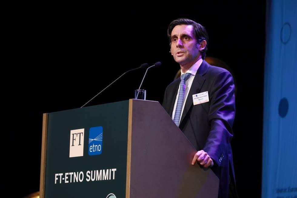 El presidente de Telefónica, José María Álvarez-Pallete, en la FT-ETNO Summit 18.