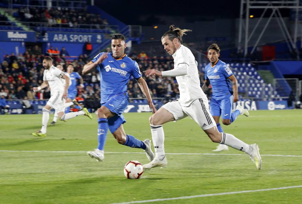 Gareth Bale, vistiendo la camiseta del Real Madrid.