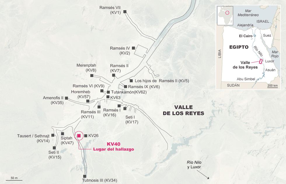 Mapa del Valle de los Reyes señalando lugar del nuevo hallazgo