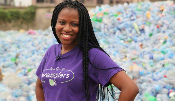 Bilikiss Adebiyi, la impulsora de Wecyclers en una imagen tomada por la CNN.