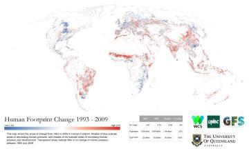 El mapa muestra la evolución del impacto humano sobre la naturaleza desde 1993. En rojo, las regiones que han aumentado su huella.