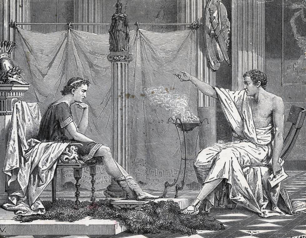 Alejandro Magno recibe lecciones de Aristóteles.