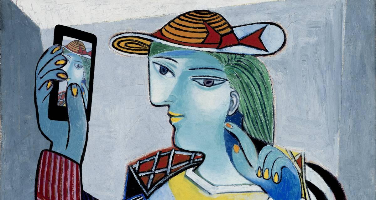 Composición realizada por el artista Kim Dong-kyu a partir de uno de los retratos de Picasso.