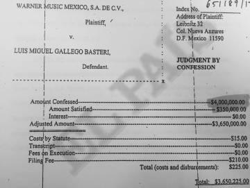 Un extracto de la demanda de Warner Music contra Luis Miguel.