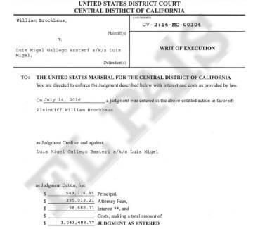 Un extracto de la demanda del exmánager William Brockhaus contra Luis Miguel.