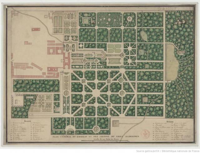 Antiguo plano de los jardines del palacio de La Granja (Segovia); en la parte superior se puede ver el laberinto.