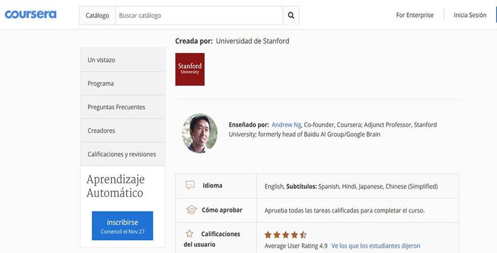 Imagen de la ficha de inscripción al curso de Machine Learning de Coursera.