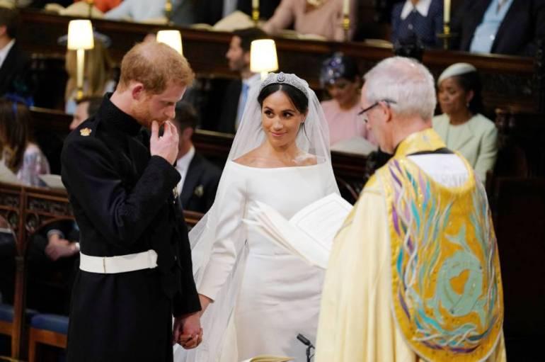Enrique de Inglaterra, muy emocionado durante la ceremonia.
