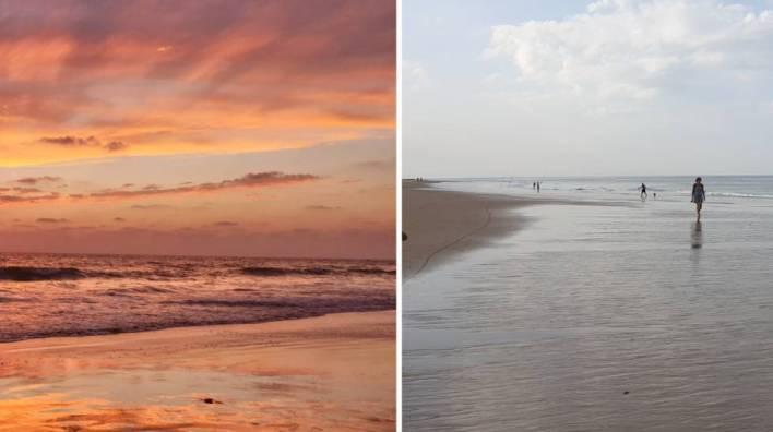 A la izquierda, foto tomada en la playa al atardecer con el modo automático. A la derecha, foto de día también en modo automático.