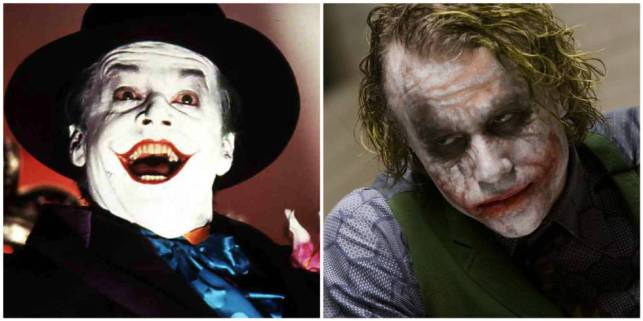 Jack Nicholson y, a la izquierda, Heath Ledger, interpretando a The Jocker en diferentes películas de 'Batman'.