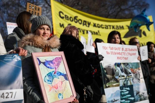 Manifestación por la liberación de las ballenas, en febrero en Moscú.