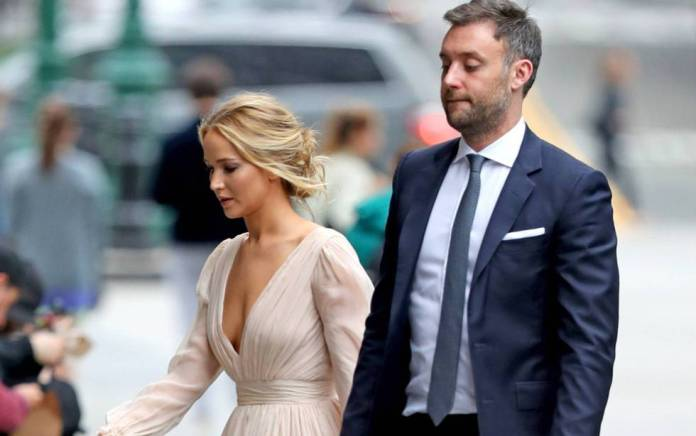 Jennifer Lawrence and her fiance, Cooke Maroney, in New York, last may.