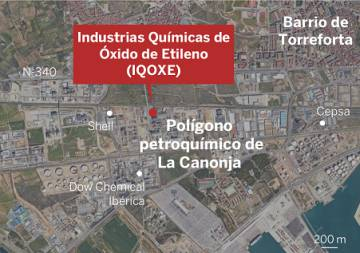 Map of the industrial zone where the accident occurred.