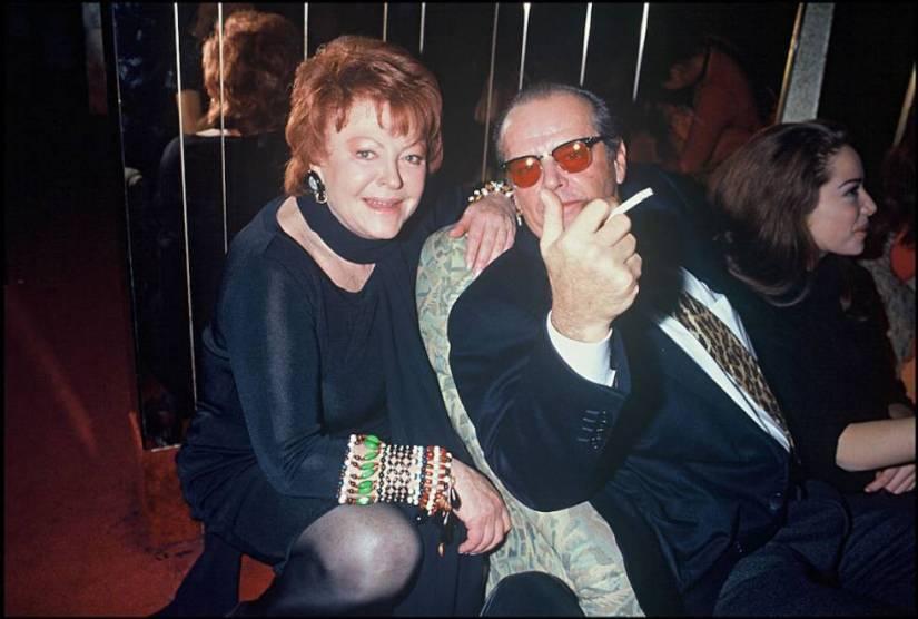 Jack Nicholson poses with Regine in Paris in 1993.