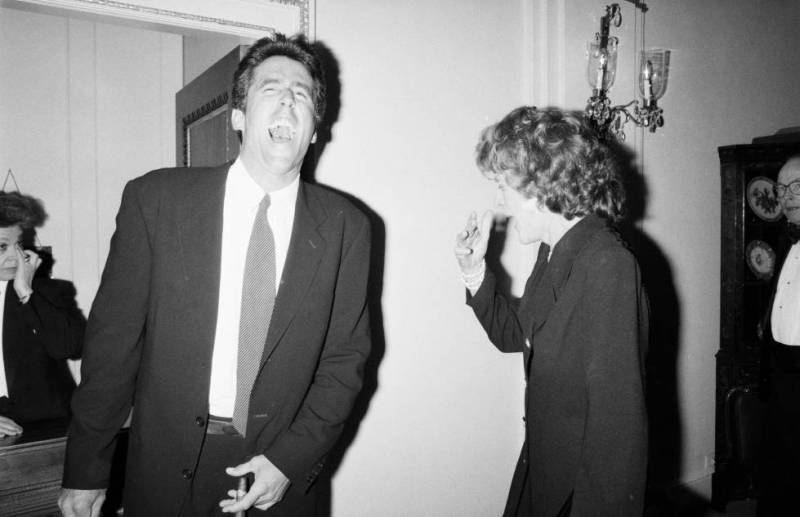 Pat Kennedy Lawford with her son Christopher Lawford in 1993.
