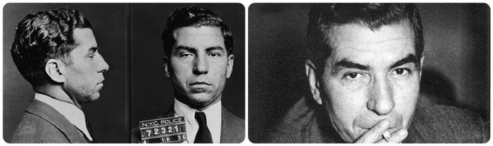 Card of the gangster Charles Lucky Luciano after his arrest in the United States in the 1930s.