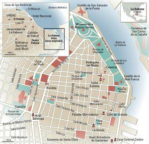 Mapa de La Habana.