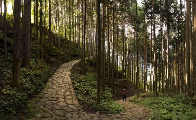 El sendero de Nakasendo, entre Magome y Tsumago (Japón).