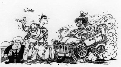 Viñeta de Ali Ferzat que muestra a Bachar el Asad haciendo autoestop ante el líder libio, Muamar el Gadafi.