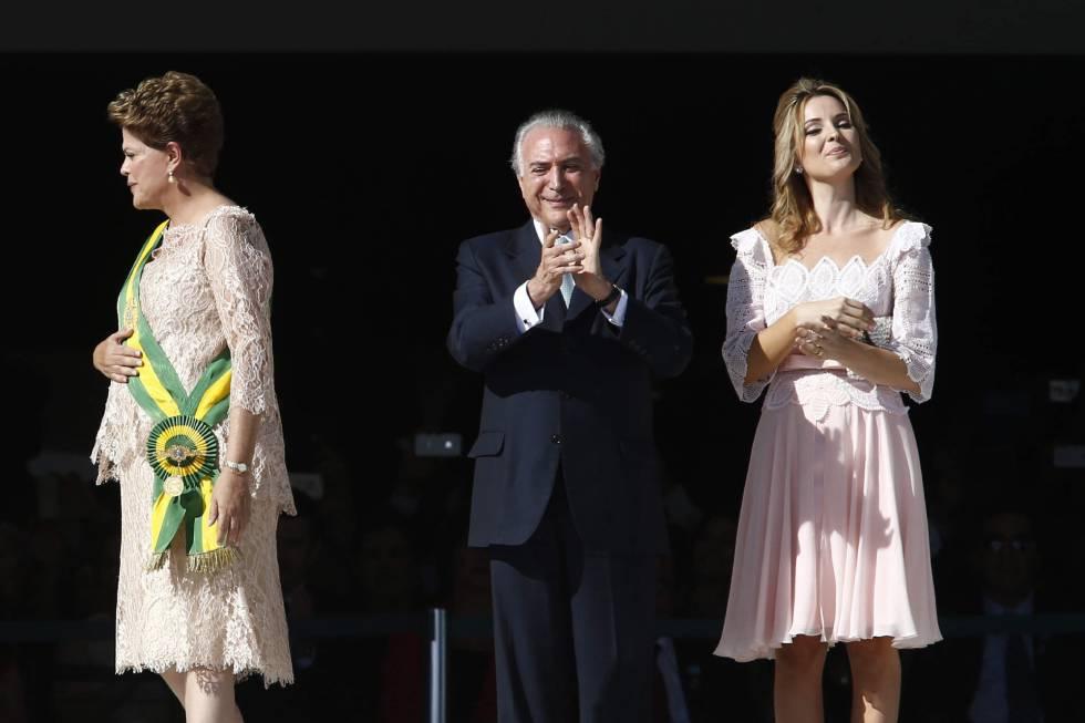 Michel y Marcela Temer, en la toma de posesión de Rousseff, el 1 de enero de 2015.