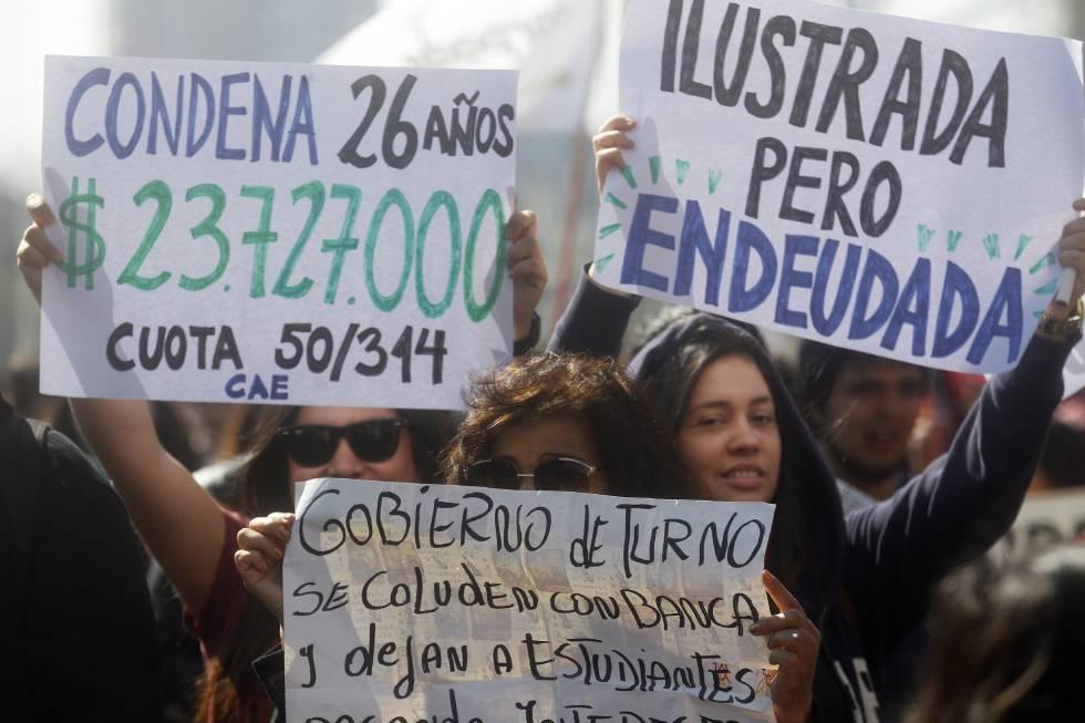 Marcha estudiantil en Santiago de Chile