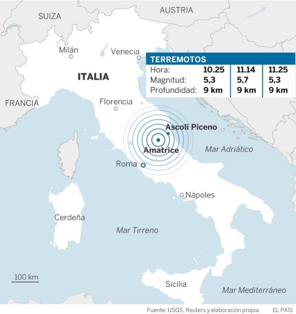 Terremoto en Italia: tres fuertes temblores sacuden el centro del país