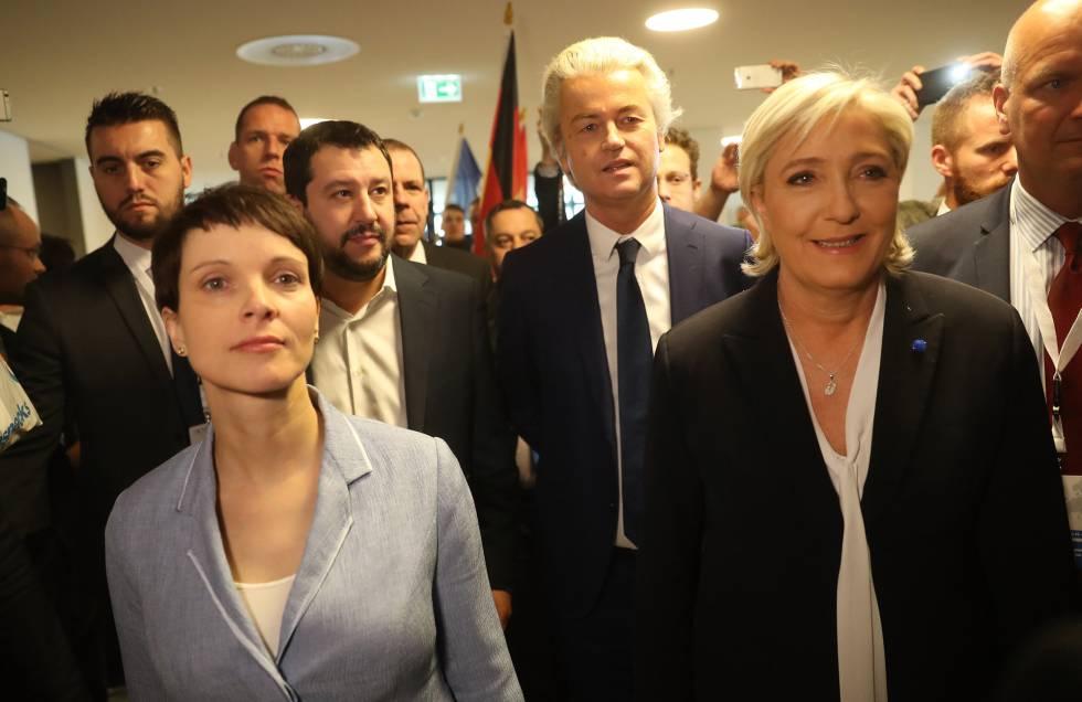 Petry, Le Pen, Wilders y Salvini este sábado en Coblenza.