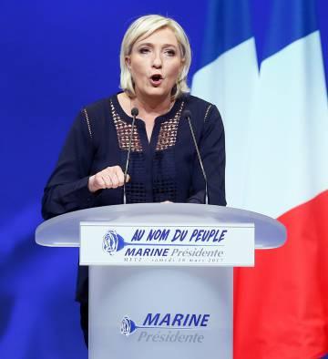 Marine Le Pen, en un mitin en Metz.