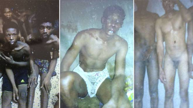 Fotografías extraídas del teléfono de un migrante retenido en Libia y facilitadas por la OIM. La agencia explica que se trata de esclavos en un mercado de Libia, a la espera de ser vendidos.
