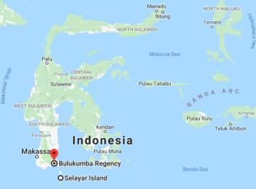 Mapa de Indonesia. El ferry realizaba un trayecto entre Bulukumba y las islas Selayar.