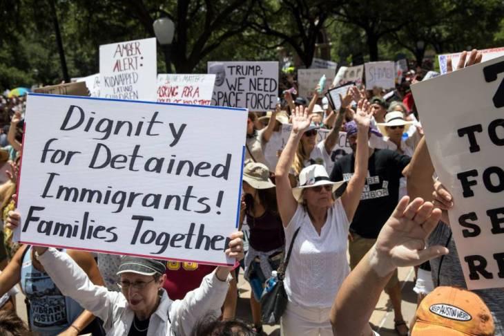 Una manifestación el 30 de junio en Austin por la reagrupación de familias inmigrantes.rn