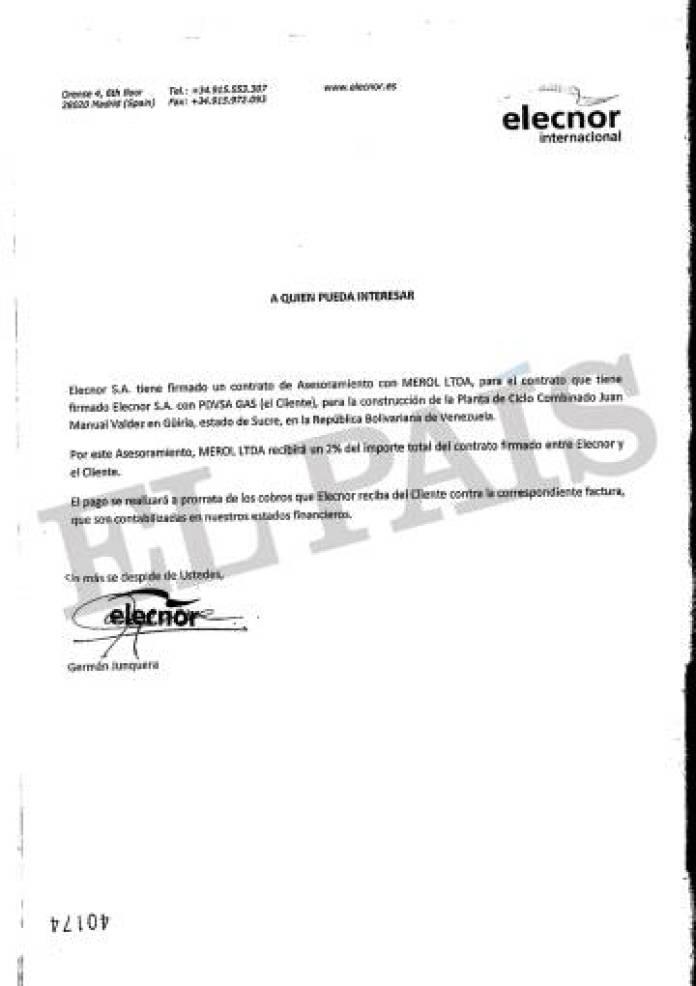Documento firmado por el exejecutivo de Elecnor Germán Junquera que confirma el vínculo de la energética vasca con Merol, una sociedad de Nervis Villalobos, según la justicia andorrana.